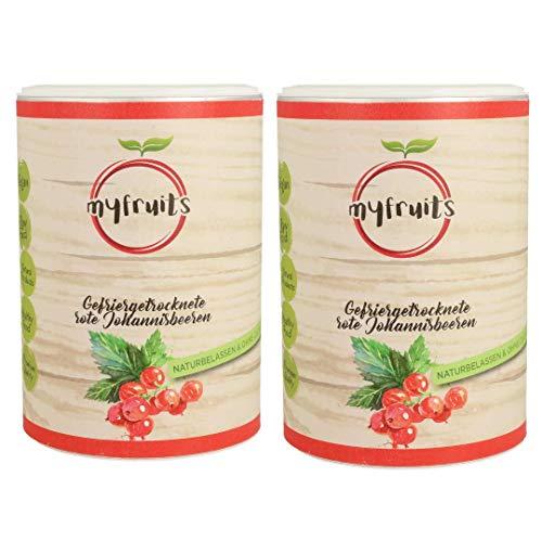 myfruits® rote Johannisbeeren - gefriergetrocknet - ohne Zusätze, zu 100% aus Johannisbeeren, Zutat für Müsli oder Porridge (2er Pack)