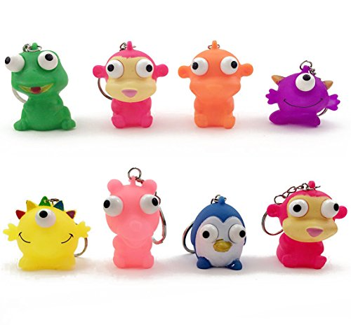Fireboomoon Pack of 8 Raised Eyes Doll Anti Stress Ball Vent Animal Keychain Squeezing Toys Anti Stress BallVent Animal KeychainSqueezing ToysSplat BallStress Relief Balls