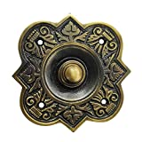 Akatva Decorative Doorbell Button – Finest Quality Bell Push Button – Easy to Install Calling Bell Button – Vintage Décor Doorbell Button Finely Hand Crafted - Antique Brass Finish
