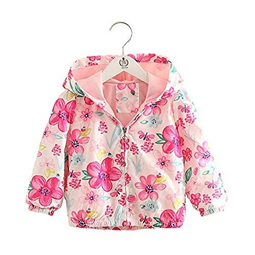 Bibicola Toddler Boys Girls Jacket Hooded Trench Flower Lightweight Kids Coats Windbreaker Outdoor (pink2, 24M)