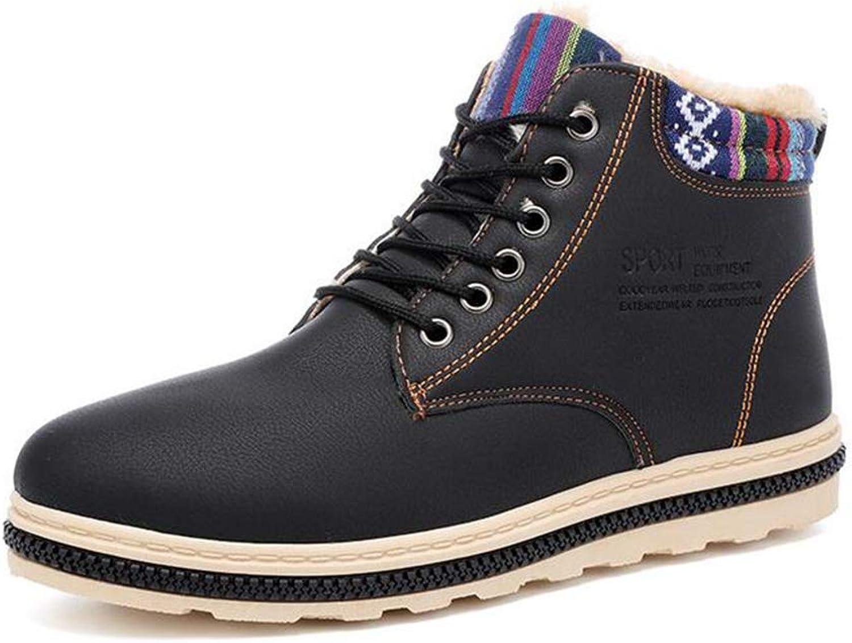 Y-H Men's shoes, Microfiber Winter Plus Velvet Warm Cotton shoes, Lace Up Formal Business shoes,Men Comfort Slip-Ons Driving shoes Casual shoes (color   Black, Size   43)
