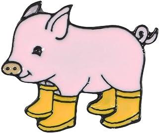 PULABO Broches Kawaii Cartoon Pig Rain Boots Animal Alloy Esmalte Broche Pin Fiesta Regalo Insignia Rentable y Buena Calid...