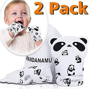 Baby Teething Mitten BPA-Free Panda Teething Mitts Teething Toy Infant Teether with Travel Bag(1 Pair)