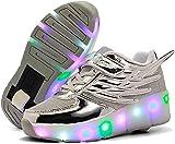 Zapatos Unisex para Niños Zapatos De Skate con Ruedas Patines De Skate Técnicos Retráctiles Patines De Ruedas Sport Cross Crossers Sport,Silver-32