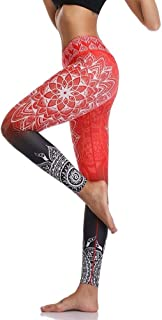 Jinqiuyuan High Waist Print Yoga Pants Fitness Yoga Leggings Workout Running Leggings Gym Yoga Pants Elastic Slim Sports Leggings (Color : Red, Size : S)