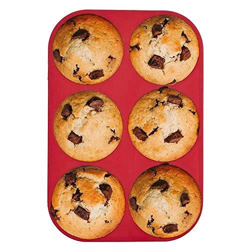 Macddy 6-Tassen-Muffinform-Silikon-Antihaft-Backblech-Backgeschirr Für Brotkuchen-Pfannkuchen, 26 17,5 3,5 cm (-40 ℃ Bis + 230 ℃)