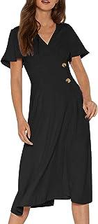 Women Wrap V Neck Aline Midi Dress Casual Side Button Ruffle Short Sleeve Flowy Swing Solid Flare Work Party Dresses