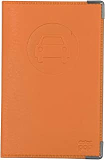 PORTE PAPIERS VOITURES COMPLET SIMILI CUIR ORANGE