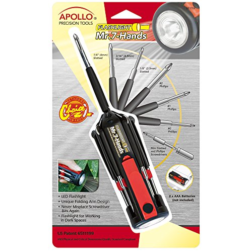 APOLLO TOOLS Original Mr. 7-Hands, Multi Screwdriver Hand Tool, All In One Patented Screwdriver, 8 Screwdrivers in 1 Tool with Worklight and Flashlight - DT1719