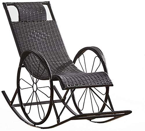 Negro de mimbre mecedora tumbona tumbona sauna Chaise sillas de salón al aire libre Chaise sillones sillas de camping sillas de jardín,Black