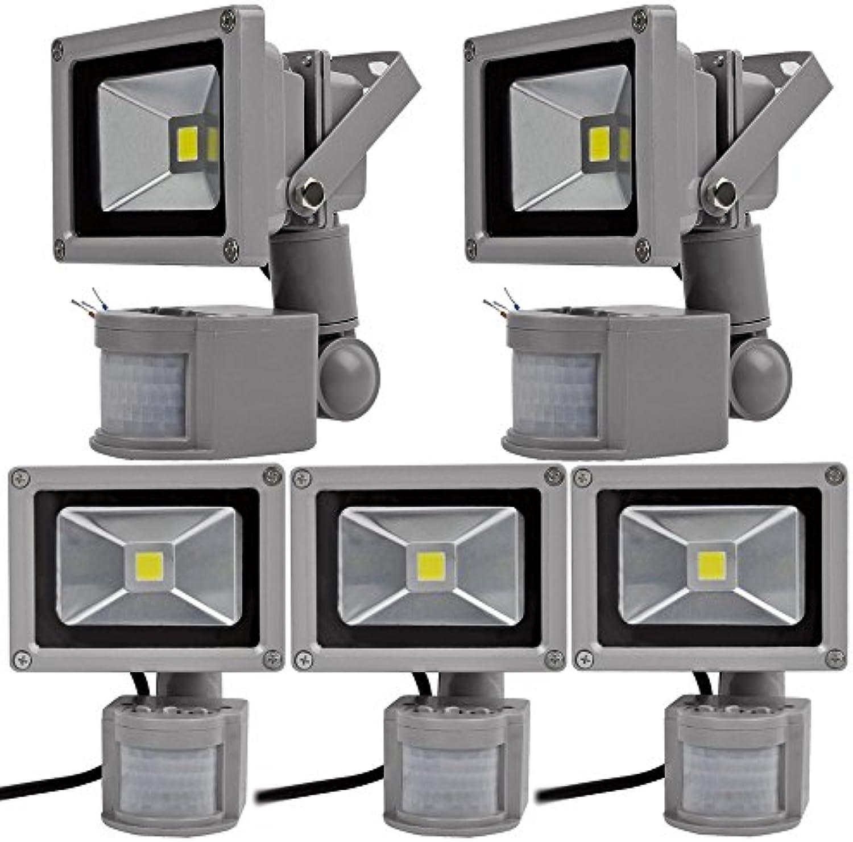 5pcs 10W LED Fluter Spot Auenstrahler Flutlich Strahler mit Bewegungsmelder,ALPHA DIMA Kaltwei Wandstrahler Grau Aluminium IP65 Wasserdicht AC 85-265V Tageslichtwei