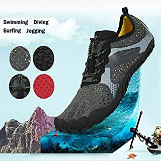 Swimwear Water Comfortable Shoes Beach Shoes Waterproof Quick Drying Swimming Shoes Surf Shoes Walking Yoga Beach Driving Boating for Men Ladies(37,Grey)