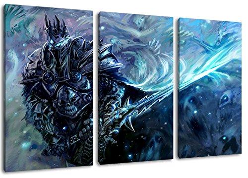 World of Warcraft 3-Teilig auf Leinwand, XXL riesige Bilder fertig gerahmt mit Keilrahmen, Kunstdruck auf Wandbild mit Rahmen