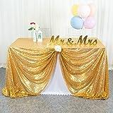 ShinyBeauty Mantel de Lentejuelas de 50 x 72 Pulgadas de Oro Brillante de la Boda de la Mesa de Mantel de Tela de Lentejuelas Brillantes de Oro de Lentejuelas Cortina de Fondo
