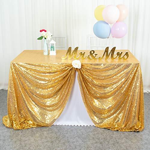 ShinyBeauty Pailletten-Tischdecke, rechteckig, 127 x 183 cm, glänzend, goldfarben