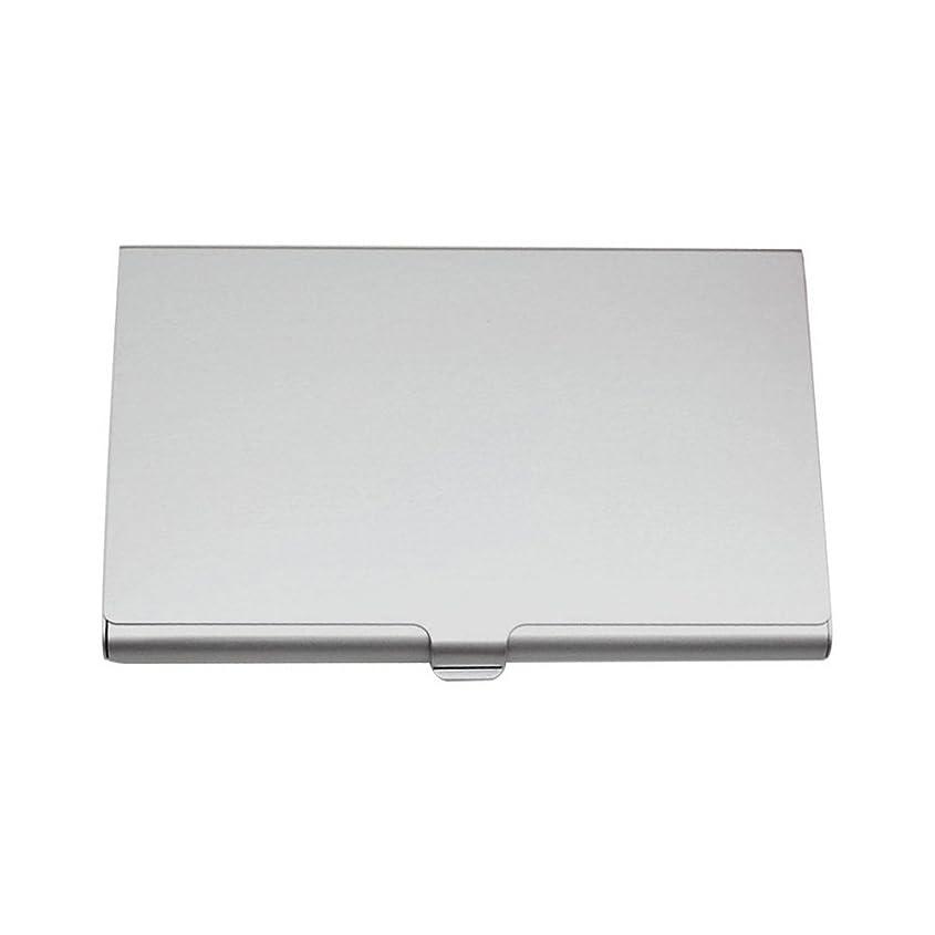 落ち着く責聖人名刺ホルダー 名刺入れ カードケース カードホルダー 卓上名刺スタンド 名刺ファイル ノビータ 両用名刺ケース メンズ レディース兼用 折れない 15枚収納 アルミニューム製 9.3×5.8*0.8cm(シルバー)