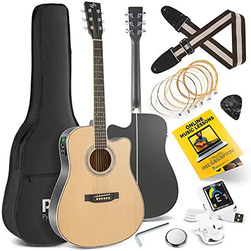 "Acoustic Electric Cutaway Guitar 4/4 Scale 41"" Steel String Spruce Wood w/Gig Bag,..."