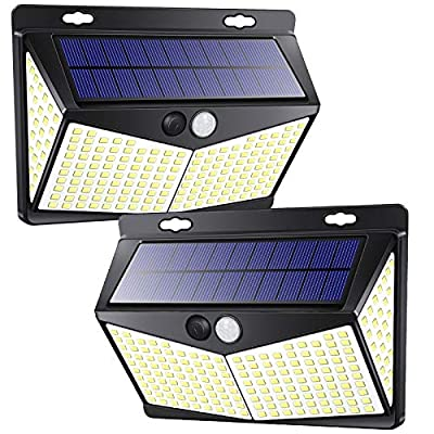 208 LED Motion Sensor Lights Outdoor Solar Powered w/ 3 Lighting Modes, 270° Wide Angle Lighting, IP65 Waterproof. Wireless Solar Security Flood Lights for Outside Fence Yard(2 Pack, 6500K)