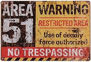 dingleiever-Funny Outdoor Decor Poster Area 51 No Trespassing Military Vintage Metal Yard Sign