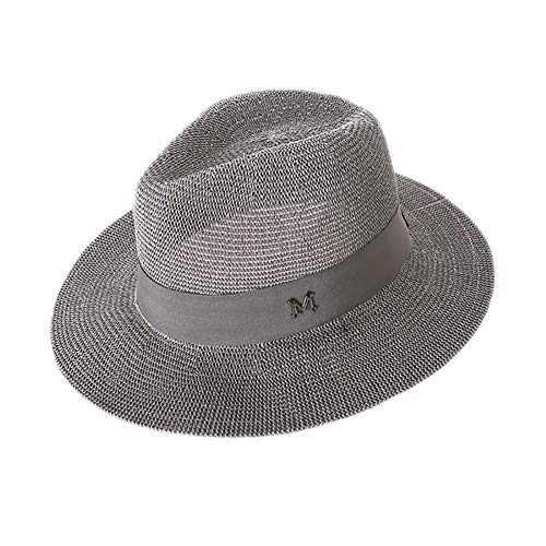 Demarkt Strohoed Unisex Jazzhoed Fedora Trilby Bogart hoed zomer strand breedte rand rand zonnehoed UV-bescherming Safari hoed 56-59 cm