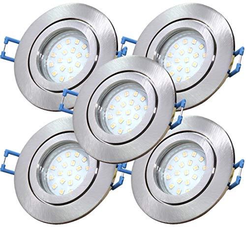 LED Bad Einbauleuchten 12V inkl. 5 x 3W SMD LM Farbe Eisen geb. IP44 LED Deckenspots Neptun Rund 3000K Einbaustrahler