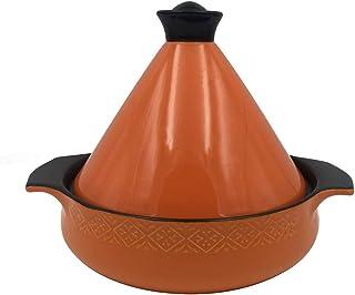 Olla Braiser Cacerola Saludable Olla de Barro para estofado, Olla de Barro Hecha a Mano, Olla marroquí de cerámica Tagine con Tapa Naranja 1.58 Cuartos