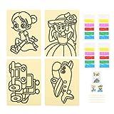 Sabbia Art kit, Sabbia Pittura Sabbia Colorata Arte Pittura Disegno Carte Bambini Arte Giocattolo Educativo Principessa Ragazza Auto Aereo