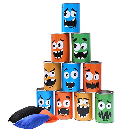 iBaseToy Bean Bag Toss Game for Kids & Adults - Carnival Party Supplies Christmas Games Tin Can Alley Game for Kids Birthday Parties - 10 Tin Cans and 3 Beanbags Included