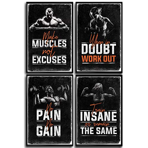 Bodybuilding Posters, Gym Posters, Home Gym Decor, Workout Posters For Home Gym, Inspirational Fitness Bodybuilder Decor, Motivation Poster, Home Workout. Motivational Posters For Gym Set Of 4 11x17in