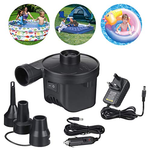 LIUMY Electric Pumps, Electric Air Pump Home/Car Use for Inflatables Quick, 50W Inflator/Deflator Camping Pumps with 3 Nozzles, for Inflatable Sofa, Air Raft Mattress, Swimming Ring, Electric Pumps
