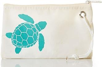 "product image for Sea Bags Aquamarine Sea Turtle Wristlet - Zip Top Wristlet - Recycled Sailcloth Wristlet - Nautical Wristlet - 8""l x 5""h"