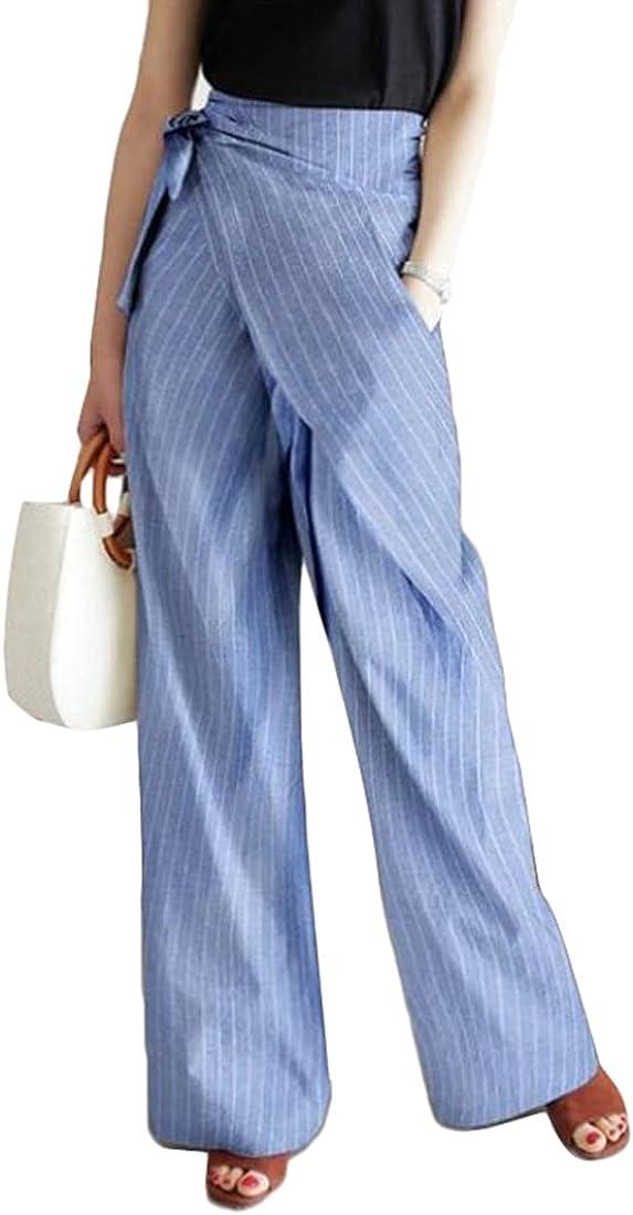 xtsrkbg Women's High Waist Tie Up Wrap Pants Casual Loose Wide Leg Palazzo Stripe Lightweight Long Trousers