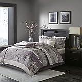 Madison Park Luxury Comforter Set-Traditional Jacquard Design, All Season Down Alternative Bedding, Matching Bedskirt, Decorative Pillows, King(104'x92'), Rhapsody, Striped Purple 7 Piece