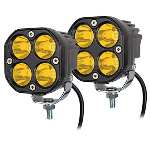 3E LED Yellow Driving Fog Lights 2Pcs 3Inch 40W Waterproof Driving OffRoad Work Lamps For Wrangler Offroad 4X4 Auto Car Jeep Truck ATV UTV Boat Motorcycle bait