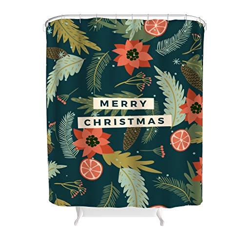 HXshqian Christmas Happy Douchegordijn met reiniging in de wasmachine wasbaar douchegordijnringen voor badkamer