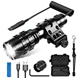 ARVAGGCY CS Force Tactical Flashlight, 1600 Lumens LED Weapon Light with Offset Picatinny Rail Mount, USB Rechargeable Battery and Remote Pressure Switch, 5 Modes, for Hunting Camping