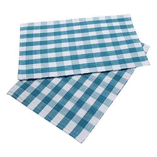 HOMESCAPES Set de Table à Carreaux, Lot de 2, Linge de Table en Coton Bleu, 30 x 45 cm