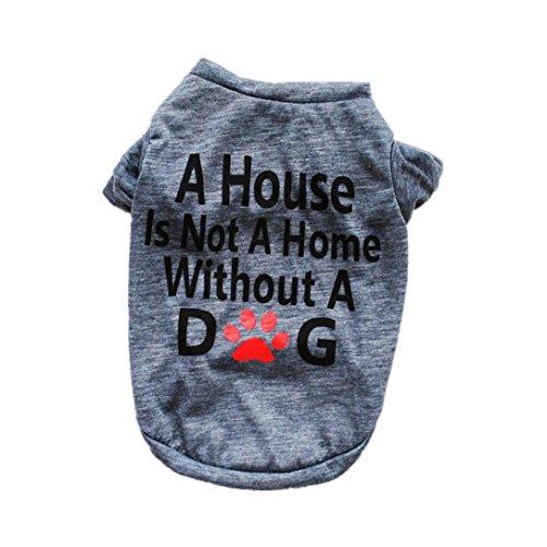 Culater 2018 Maglietta Unisex in Cotone con Stampa Lettera per Cani da Vacanza Abbigliamento Maglioni Vestiti per Animali per Cani di Piccola Taglia (M, Grigio)