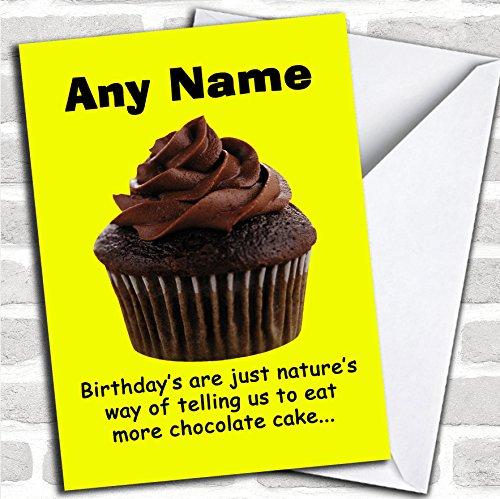 Grappig meer chocolade taart verjaardagskaart met envelop, kan volledig worden gepersonaliseerd, snel en gratis verzonden