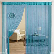 Exporthub Tabtop Polyester Door Threads String Curtain, 7ft, Blue