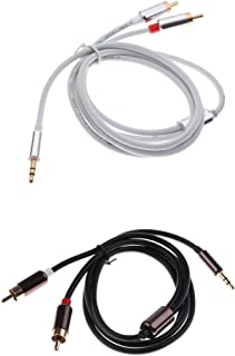 KESOTO 2X 3.5mm Male to 2RCA Male Stereo Audio Cable Gold Plated for TV,Smartphones, MP3, Tablets, Speakers,Home Theater 3.3ft