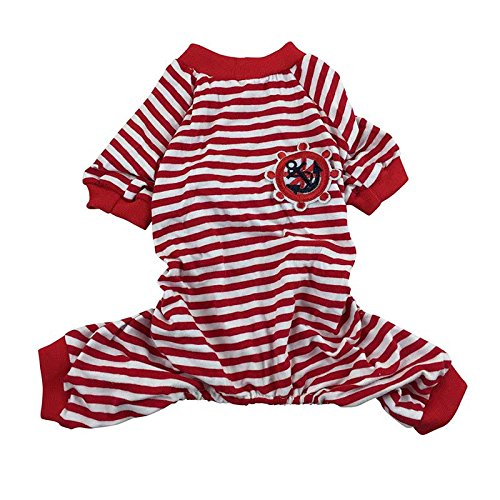 EgBert Pet Cartoon Gestreift Cotton Pajamas Small Dog Cat Jumpsuit Coat Pet T-Shirt Für Teddy Small Dogs - Rot - M