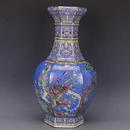 Vaas decoratie Home Decoration mooie vaas Grote Chinese Classic antieke keramische Enamel bloemenvazen, b, A (Color : B)