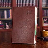 日記2021、ノートとイヤープランナー、内ポケット付きハードカバー日記、ポータブル日記プランナー、6色-ブラウン
