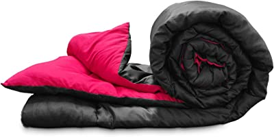 Stoa Paris Reversible Microfibre Comforter (Single, Black Pink)