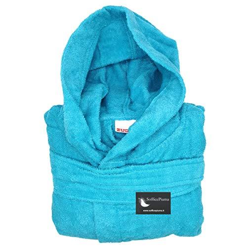 Zucchi Reise-Bademantel aus Mikrofrottee, 260 g, Art. Journey, ideal für Schäler und Reisen, verschiedene Größen und Farben, Blau M