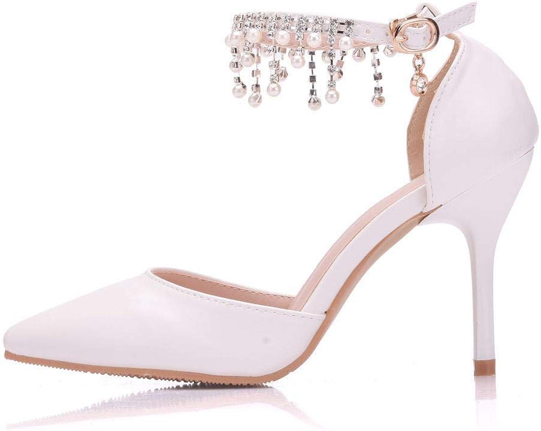 Women's Tassel Beaded Heels, fine Heel Pointed Belt Buckle White Large Size Sandals