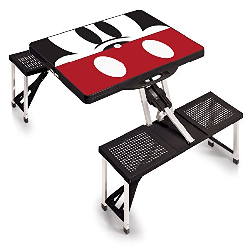 Disney Classics Mickey Mouse Portable Folding Picnic Table with Seating for 4, Black