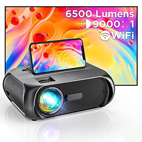 BOWMAKER TECH Proiettore WIFI Mini Proiettore Portatile Full HD 1080P Nativo Supporta, 6500 Lumens HDMI/AV/USB/VGA/AUX, Compatibile Android/iOS/Windows/Mac per Home Cinema S5