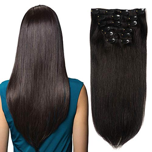 Price comparison product image Hair Extensions Clip in Human Hair Double Weft Straight Hair Extensions Natural Black 22 inch Clip on Hair Thick Hair Extensions for Women(7pcs,  16 Clips,  100g)